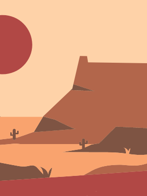 mountain plateau in desert with sun setting illustration